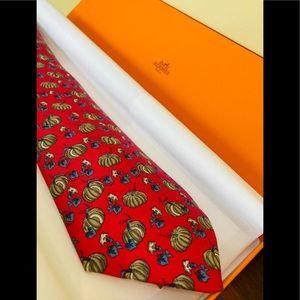 Authentic Hermes silk necktie: Pumpkins